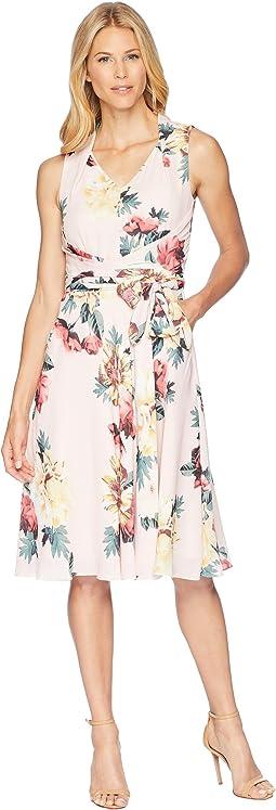 Tahari by ASL Floral Knot Waist Dress