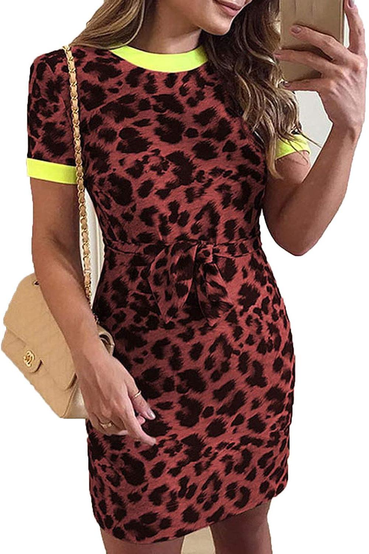 lioneh Elegant O-Neck Short Sleeve Dress Women Summer Leopard Print Slim Bodycon Mini Dress