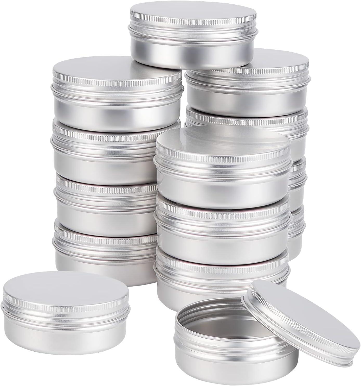 BENECREAT 14PCS 70ml/2.37 oz Platinum Round Aluminium Tin Cans w
