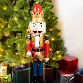 KI Store Large Christmas Nutcracker 2.8-Foot, King Wooden Nutcracker Figurine Christmas Decorations for Staircase Front Door