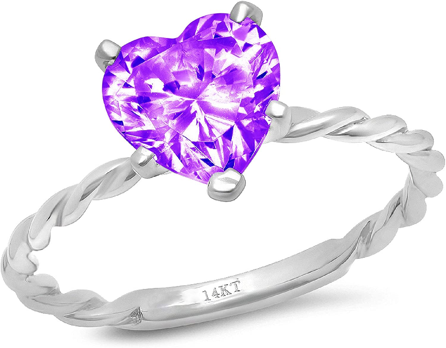 1.9ct Brilliant Heart Cut Solitaire Rope Twisted Knot Natural Purple Amethyst Ideal VVS1 5-Prong Engagement Wedding Bridal Promise Anniversary Ring Solid 14k White Gold for Women