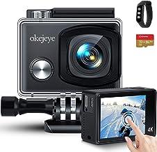 okejeye 4K Action Camera OK800 Native 50fps / 24MP Touch Screen 40M دوربین ضد آب دوربین زیر آب WiFi Sport Camera EIS وب کم دوربین از راه دور و کارت 32 گیگابایتی Micro SD