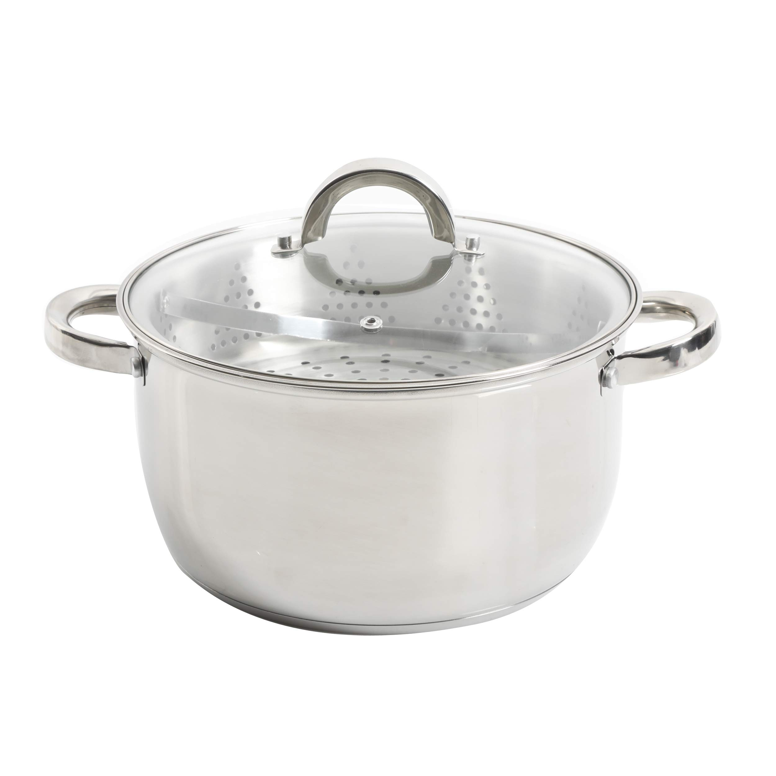 Amazon Com Oster Sangerfield 6 Qt Dutch Oven Casserole With Steamer Basket Stainless Steel Kitchen Dining