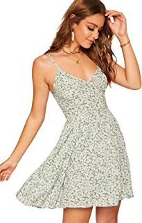 Women's High Waist Fit and Flare Vneck Floral Cami Dress Spaghetti Strap