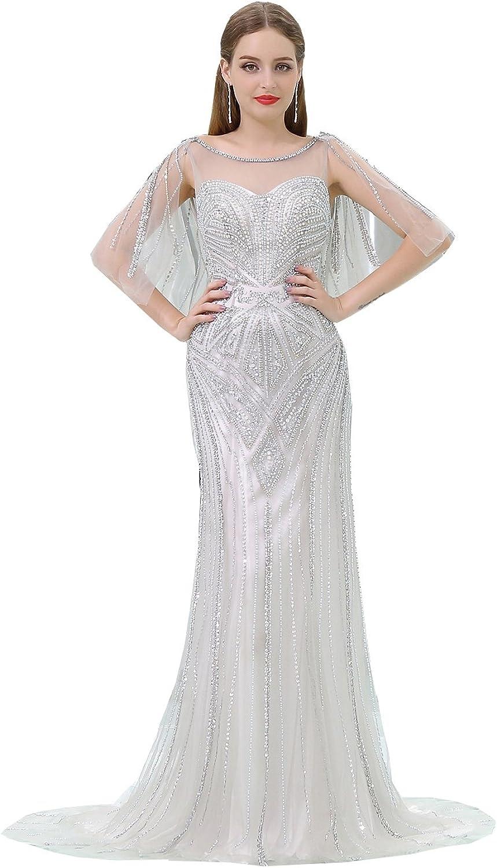 Ikerenwedding Women's Scoop Pearls Sequins Mermaid Evening Dress With Shawl
