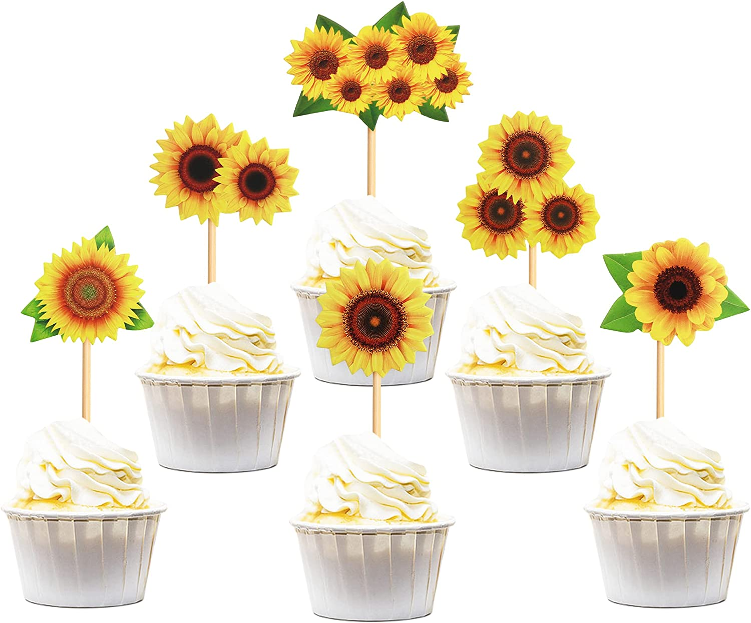 Keaziu 36 Pack Sunflower Selling Cupcake Party Themed Genuine Toppers for Flower