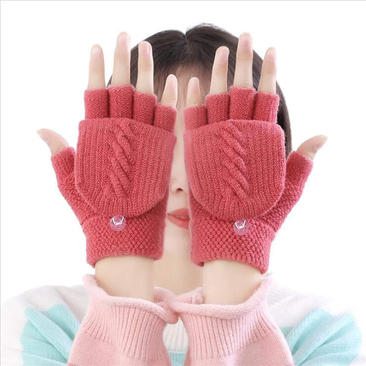 1 Pair of Winter Ladies Clamshell Knitted Gloves Warm and Soft Half-Finger Autumn and Winter Gloves (Color : Pink, Gloves Size : One Size)