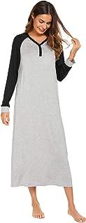Sleep Shirt Women's Long Sleeve Sleepwear V-Neck Night Dress Nightgown Loungewear S-XXL