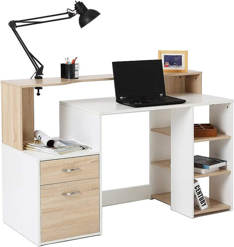 HomCom 55 Multi Level Modern Design Home Office Desk With Shelves And Drawers Light Oak White