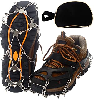 Mounchain Crampons, 19 Stainless Steel Spikes Traction Cleats, Ice & Snow Grips for Safe Outdoors, Such as Climbing, Hiking, Walking, Jogging