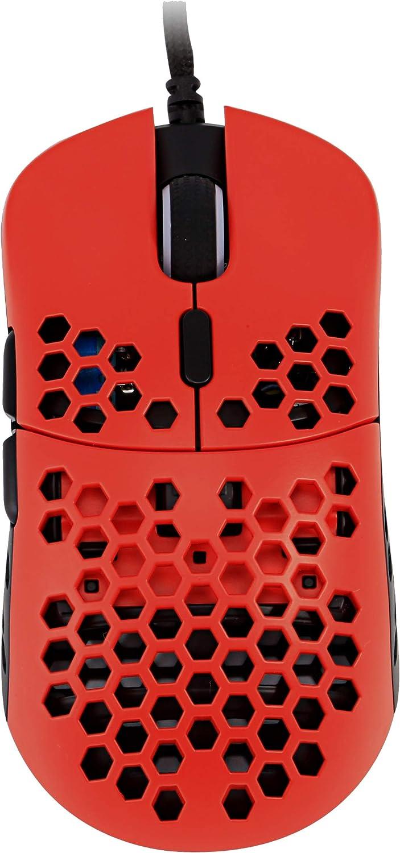 HK Gaming Mira S Ratón para Juegos con Cable Ambidiestro Honeycomb Ultralight RGB - 12000 cpp - 6 Botones - 61 g (Mira-S, Monza)
