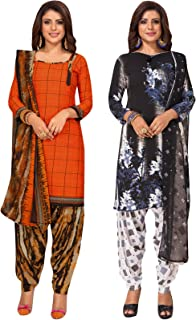S Salwar Studio Women's Pack of 2 Synthetic Printed Unstitched Dress Material Combo-MONSOON-2859-2870
