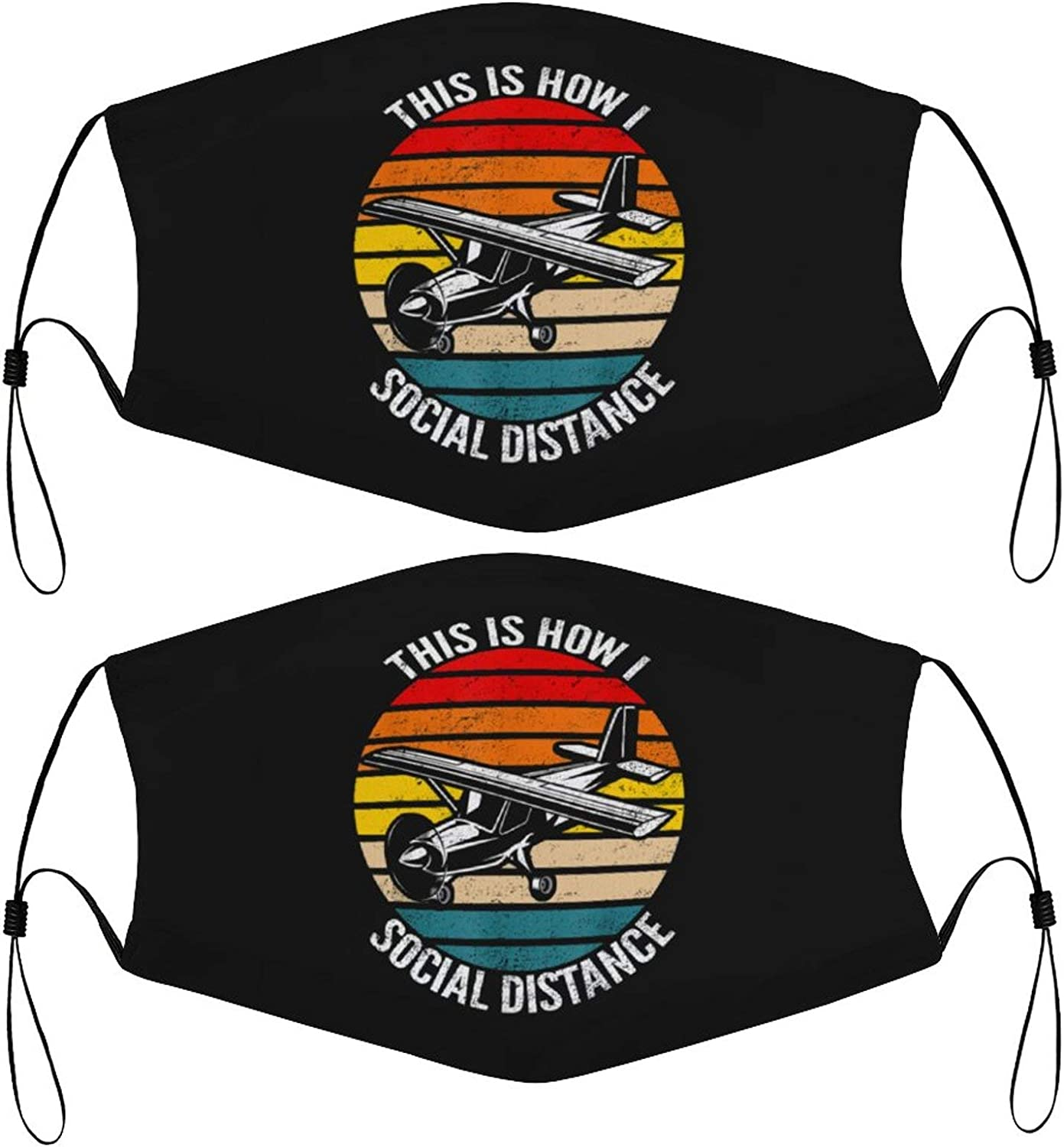Social Distance Plane Retro Kids Face Masks Set of 2 with 4 Filters Washable Reusable Breathable Black Cloth Bandanas Scarf for Unisex Boys Girls