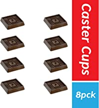 """Furniture Caster Cups for Carpet and Finished Surfaces, 2"""" Square Rubber Anti-Slip Wheel Grippers Floor Protectors, 8 Pack, Brown"""