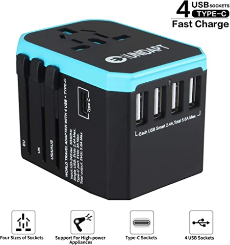 Unidapt Universal Travel Adapter - International Travel Adapter - All in one World Power Adaptor Charger with 5.6A Sm...