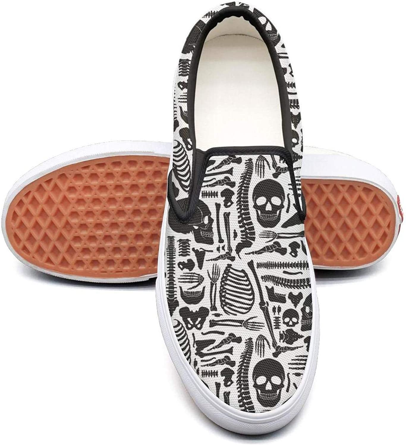Black Mexican Candy Skull Art Designs Slip On Canvas Upper Loafers Canvas shoes for Women Fashion