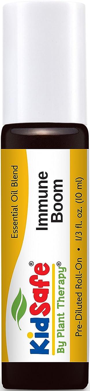光沢ビバ保安Plant Therapy KidSafe Immune Boom Synergy Pre-Diluted Essential Oil Roll-On. Ready to use! Blend of: Lemon, Palmarosa, Dill, Petitgrain, Copaiba and Frankincense Carteri. 10 ml (1/3 oz).