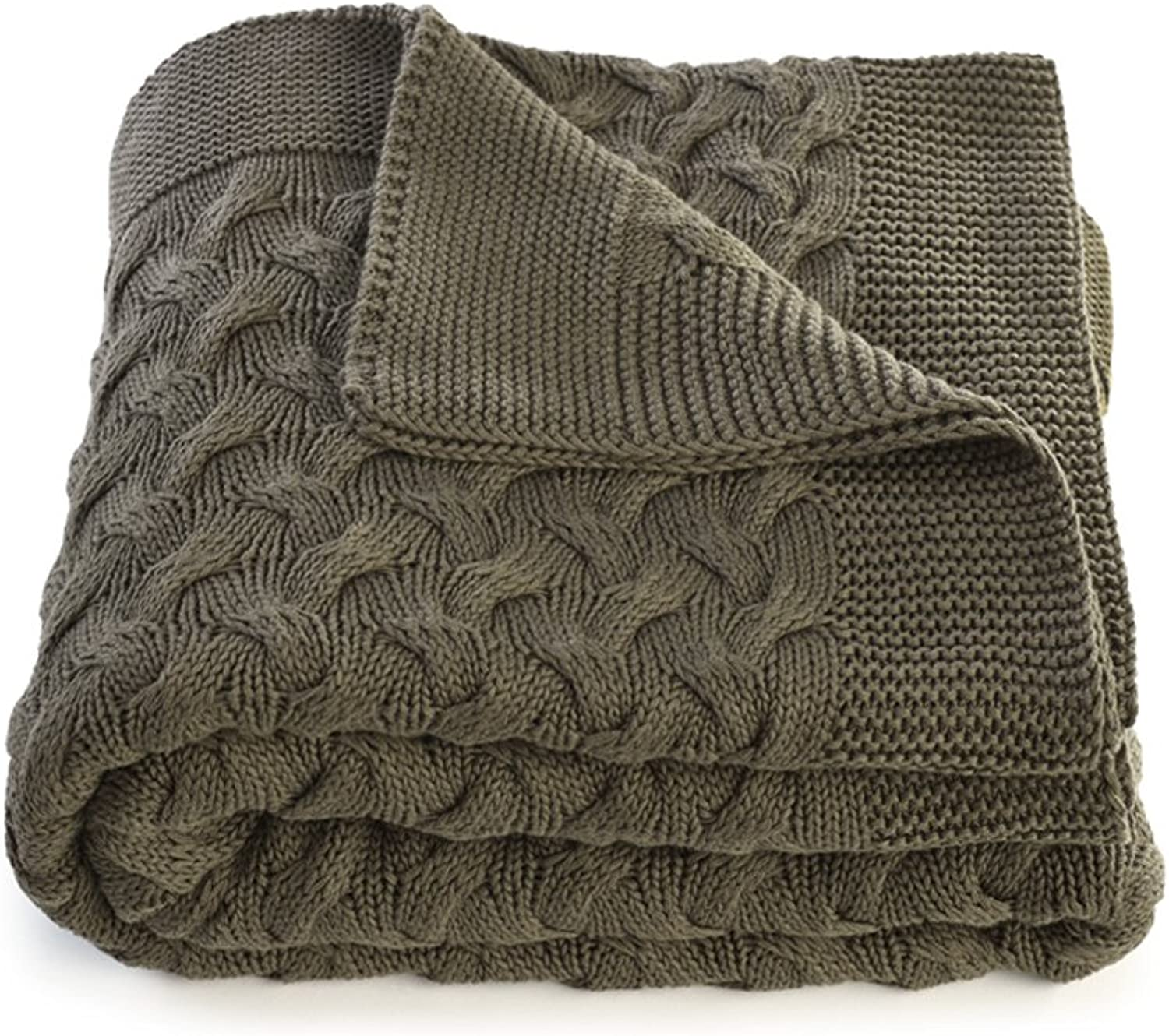 Soft 100% Cotton Throw Blanket for Couch Sofa Bed Green 51 x 67 Inch