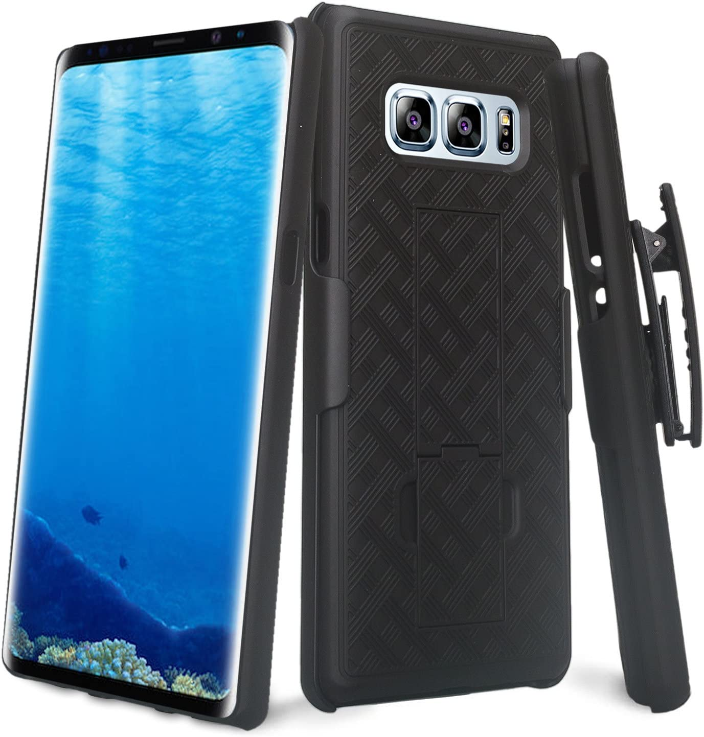 Galaxy Note 8 Case Swivel Slim Belt Clip Holster Armor Protective Case, Defender Cover Compatible for Samsung Galaxy Note 8 (Black Holster)
