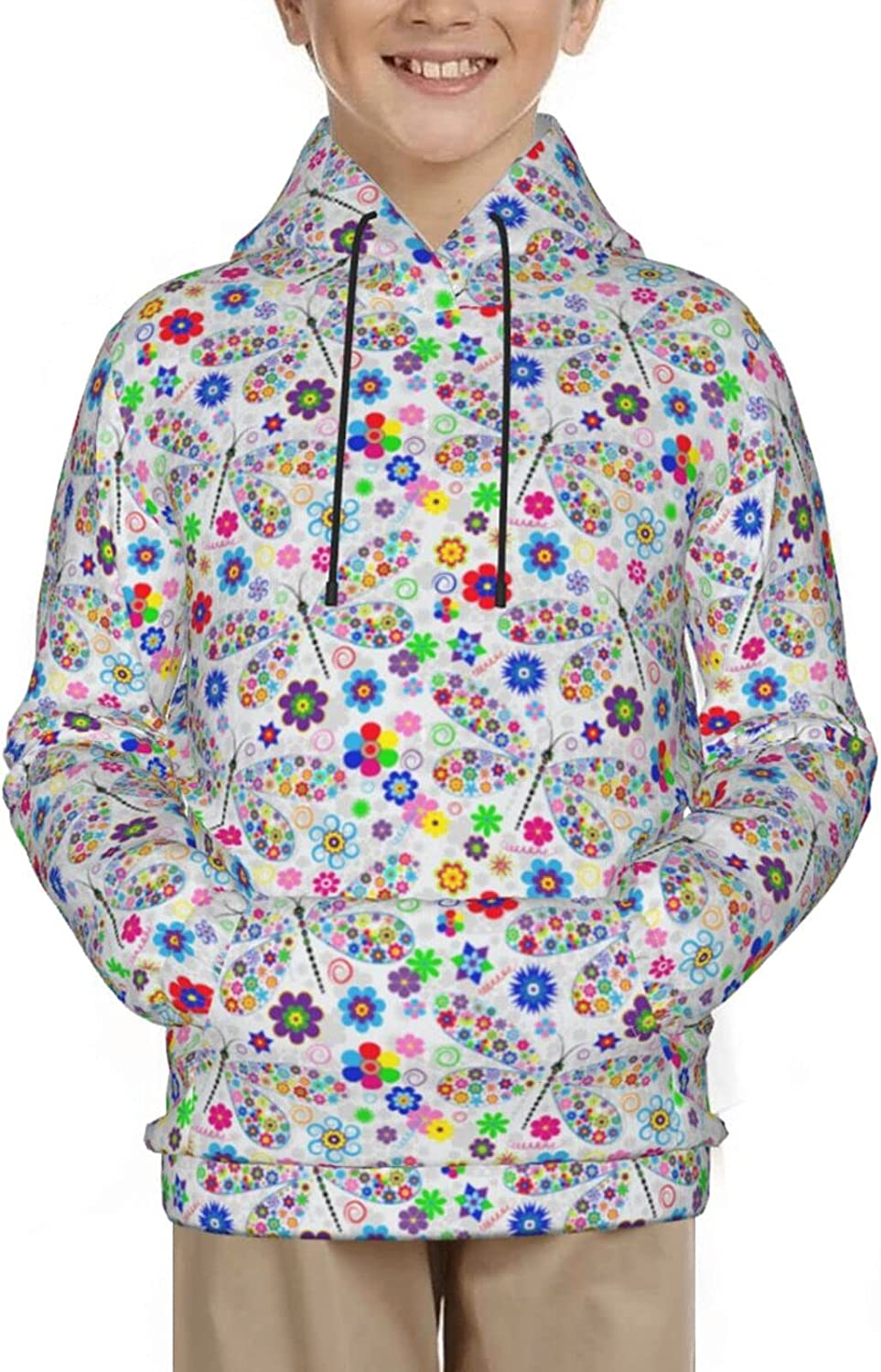 Floral Colorful Dragonfly Insects White Pullover Hoodie Funny Pa