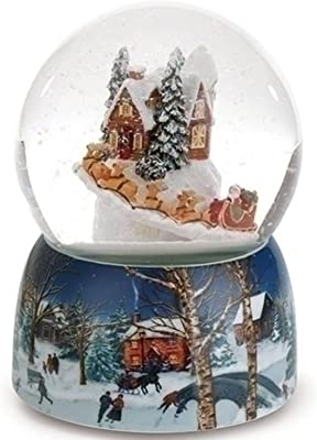 Set of 2 Musical Village with Rotating Santa in Sleigh Christmas Glitter Dome 6.75