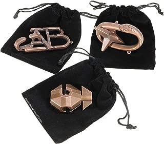 FLAG, ABC & STAR Hanayama Brain Teaser 3 Puzzle Pack _ Burnt Copper Look _ Bonus 3 Black Velveteen Drawstring Storage Pouches