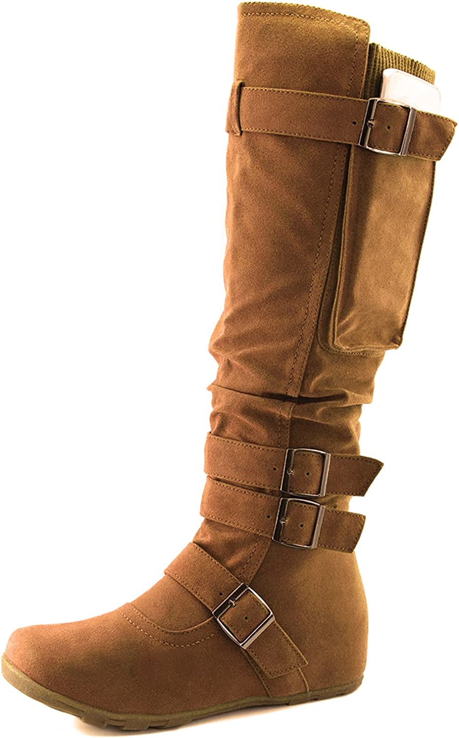 Dailyshoes Women's Mid Calf Slouch Hidden Wedge Comfortable Slip On Round Toe Flat Heel Knee High Boots