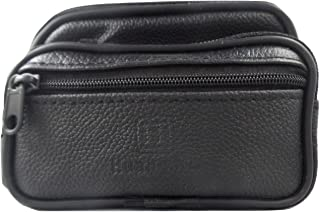 Variety To Go Genuine Leather Coin Purse & Waist Pouch for Women and Men, Belt Waist Pouch, 3 Zipper Pockets,