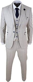 Mens 3 Piece Suit Tweed Cream Black Tailored Fit Wedding Peaky Blinders Classic