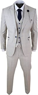 Mens 3 Piece Suit Tweed Cream Black Tailored Fit Wedding Peaky Blinders Classic Cream