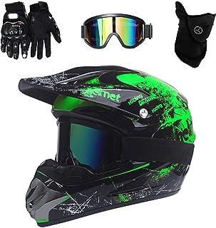VOMI Mopedhelm Motocross Helm Herren, Serie HM-718 Motorradhelm Set Damen Fullface Motorrad DH Cross Offroad Enduro Mountainbike Helme mit Visier Brille Handschuhe Maske
