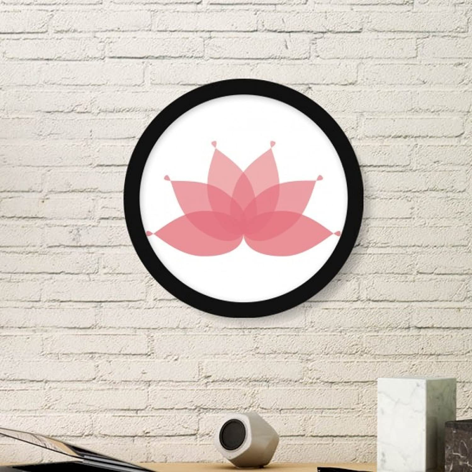 Pink Lotus Flower Plant Flower Art Painting Picture Photo Wooden Round Frame Home Wall Decor Gift