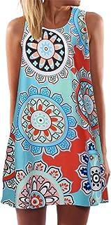 ITISME Vestiti Donna Eleganti, 2020 Sconto Pasqua Mini Abito Corto da Donna 3D Stampa Floreale Allentata Vintage A Senza M...