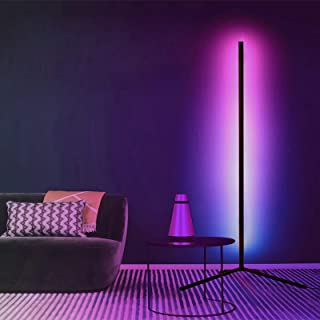 RGB Corner Floor Lamp, infinitoo Color Changing Modern Lamps, 140CM Tall Standing Lamp with Remote Controller Metal Colorf...