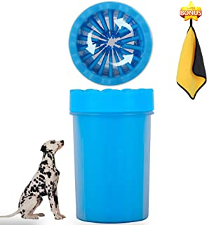 VIVICARE Portable Pets Muddy Paw Cleaner Cup, Soft Silicone Brushes Washer for Dog Paw Cleaning, Healthy Paw Keeper with Quick Dry Microfiber Absorbent Pet Bath Towel, Plunger Cup Medium Blue