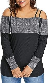 GAOXINGQU Women's Long Sleeve Strap Off Shoulder Color Block Blouse Plus Size (Color : Black, Size : 4XL)