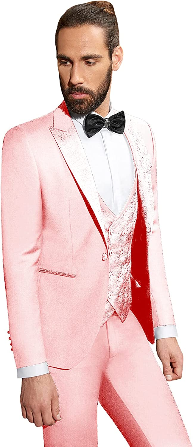 Rdzding Mens Slim Fit Suit 3 Piece Blazer Tuxedo Daily Business Jacket Groomsmen Suits for Wedding Formal Party Jacket Coats