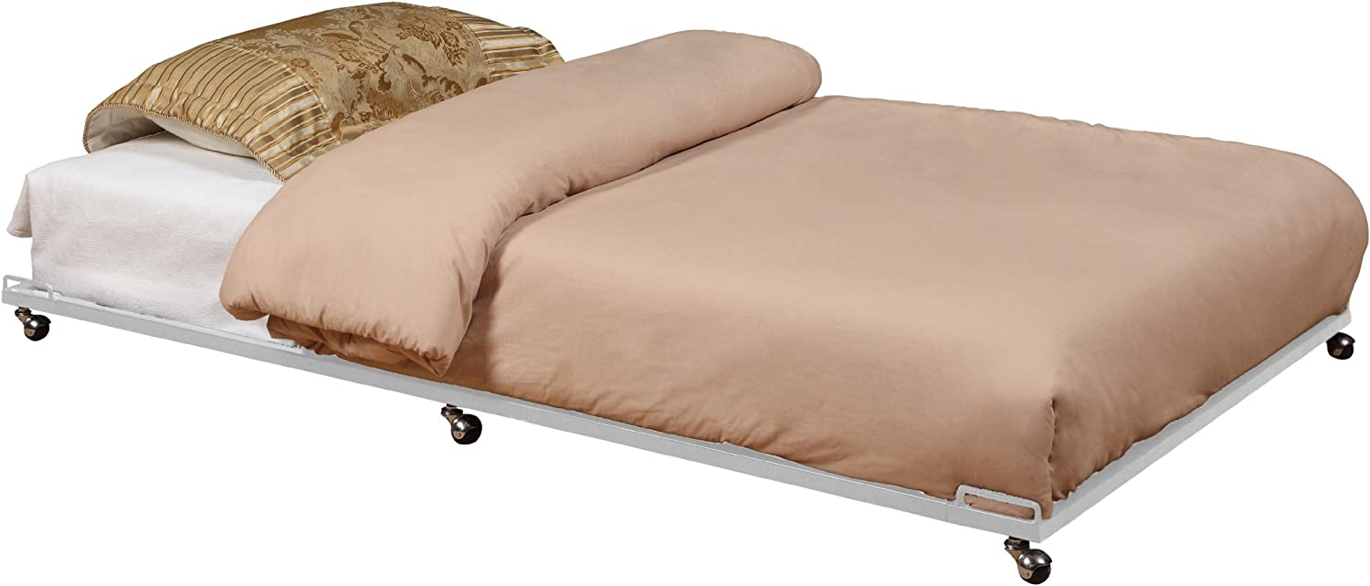 New Tulsa Mall life Kings Brand Twin Size Cream White Out Metal Trundle Roll Fra Bed