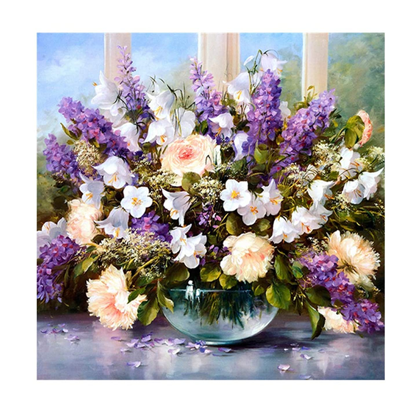 YEESAM ART New 5D Diamond Painting Kit - Rose Lavender Flowers - DIY Crystals Diamond Rhinestone Painting Pasted Paint by Number Kits Cross Stitch Embroidery (Flowers)