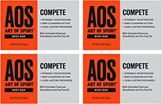 Art of Sport Body Bar Soap (4-Pack) - Compete Scent - Activated Charcoal Soap with Natural Botanicals Tea Tree Oil and She...