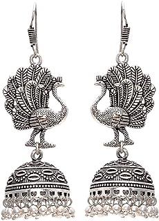 Geode Delight GS Silver Oxidised Silver Plated Peacock Shape Jhumki Earring for Women
