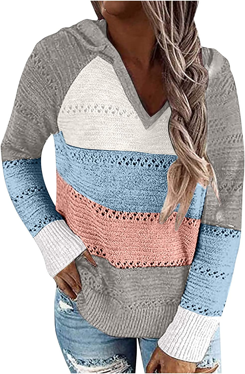 Women's Casual Stripe Hooded Sweater Color Block Patchwork V-Neck Long Sleeve Knitted Hoodies Oversized Blouse Tops