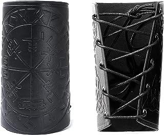 XDXDO Guards de Bras médiévaux, Poignet de glaulier de Cuir Punk Bracer Bras de Cuir Gardoir Gauntlet Viking Boussole Runi...
