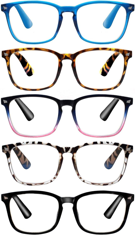 5-Pack Computer Reading Glasses Blue Light Blocking Readers for Women Men Anti Eyestrain Eyeglasses