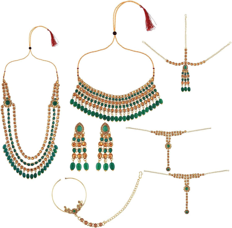 Efulgenz Indian Bollywood Bridal Wedding Kundan Crystal Choker Necklace Earring Maang Tikka Head Chain Nose Ring Bracelet Jewelry Set