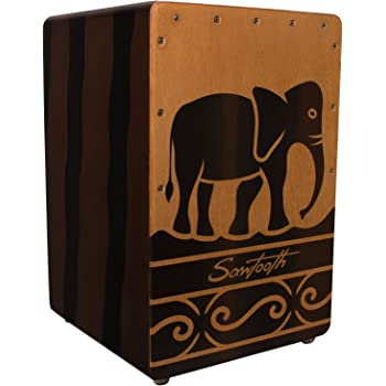 Sawtooth Harmony Series Hand Stained Elephant Design Compact Cajon