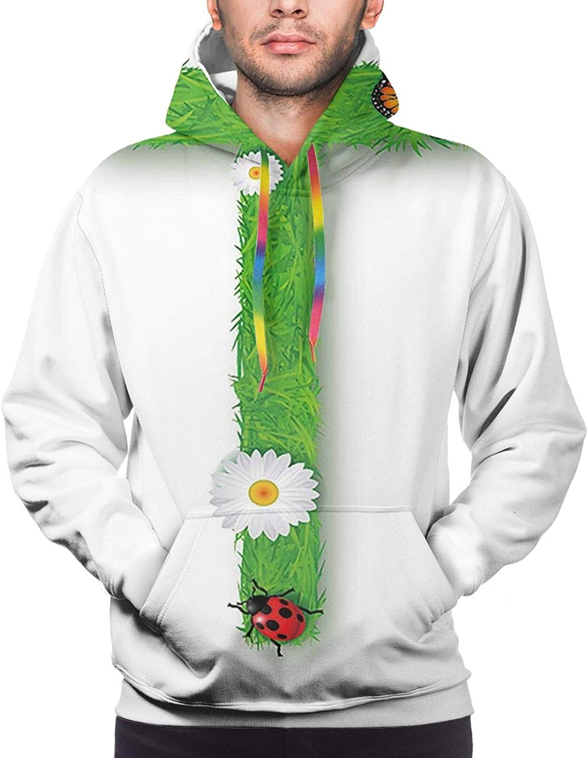 Men's Hoodies Sweatshirts,Capitalized R Symbol with Flower of Love Rose Nature Inspired Font Alphabet