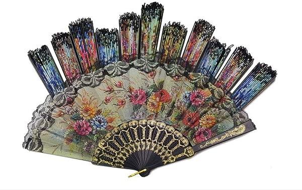 Tomixxx 1 Dozen 12 Pieces Spanish Floral Folding Hand Fans Gift Size 9 Wholesale