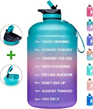 Venture Pal Large 1 Gallon Motivational Water Bottle with 2 Lids (Chug and Straw), Leakproof BPA Free Tritan Sports Water ...