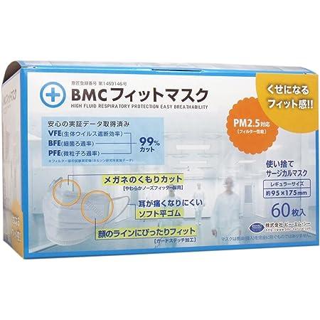 【セット品】(PM2.5対応)BMC フィットマスク 使い捨てサージカルマスク レギュラーサイズ 60枚入【×4個】
